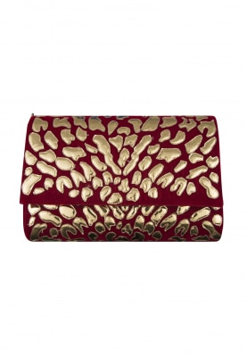 Maroon Hand Embroidered Clutch with Gold Applique Work