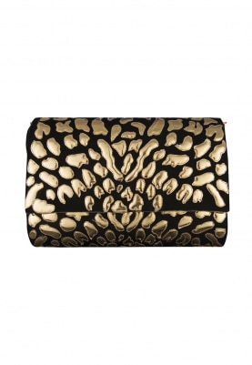 Black Hand Embroidered Clutch with Gold Applique Work