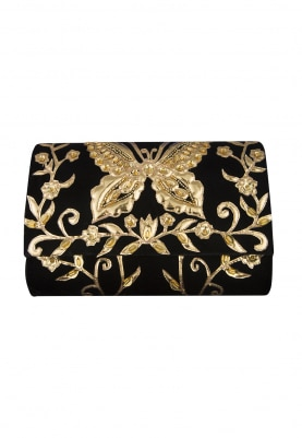 Black and Gold Pu Applique Work Flapover Bag