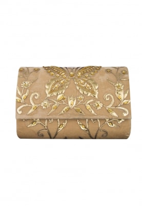 Beige and Gold Pu Applique Work Flapover Bag