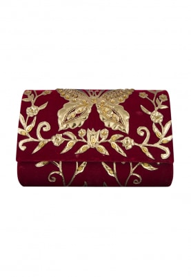 Maroon and Gold Pu Applique Work Flapover Bag