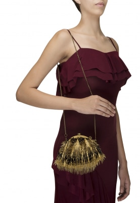 Dull Gold and Black Tassel Embroidered Clutch