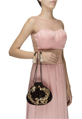 Beige and Gold Leaf Design Potli Bag
