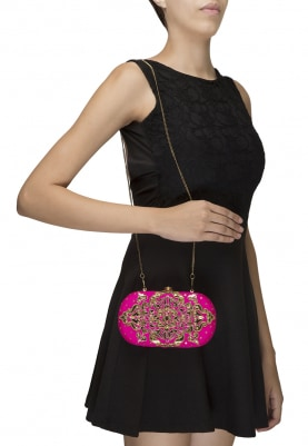 Hot Pink and Gold Applique Work Oval Shaped Clutch