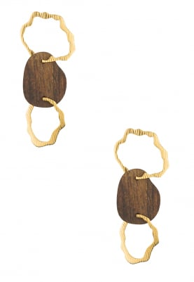 Gold Plated Wooden and Gold Hollow Hoop Earrings