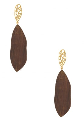 Gold Plated Wooden and Gold Cutwork Long Earrings