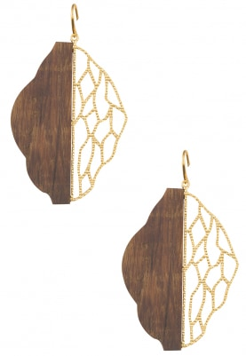 Gold Plated Hald and Half Wooden and Gold Cutwork Leaf Design Earrings