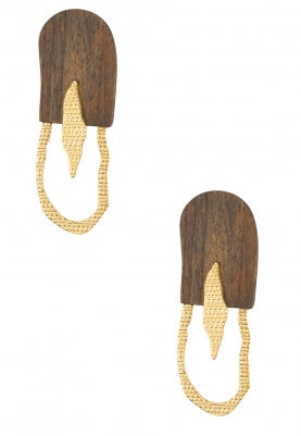 Gold Plated Half and Half Wooden and Hollow Hoop Earrings