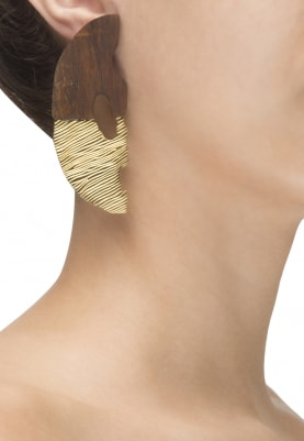 Gold Plated Half and Half Mask Design Earrings