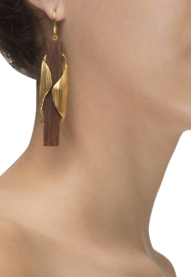 Gold Plated Wooden Drop and Gold Sheet Long Earrings