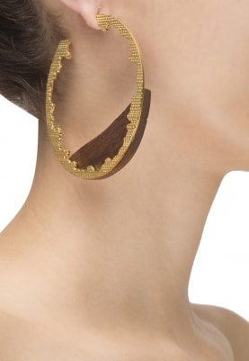 Gold Plated Wooden and Gold Textured Hoop Earrings