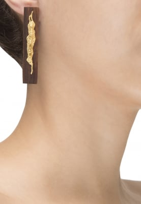 Gold Plated Wooden and Gold 3D Leaf Design Earrings