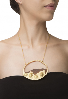Gold Plated Wooden and Gold Hollow Hoop Wing Necklace