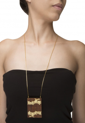 Gold Plated Rectangular Wooden and Gold Textured Work Necklace