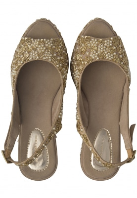 Tan Colour Pearls and Metal Embroidered Chandani Sandals