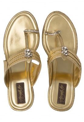 Golden Dori Work and Zircons Embellished Gold Diamonte Wedges