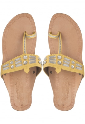 Nude and Yellow Diamonds and Beads Embellished Almas Box Heel Sandals