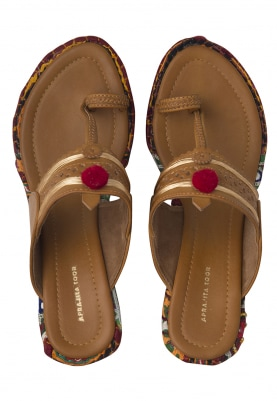 Tan Rabari Kolhapuri Wedges with Red Pompom and Golden Threadwork