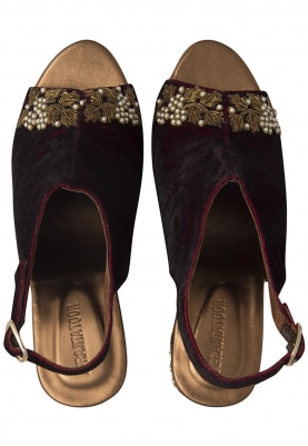 Copper and Maroon Kundan Embroidered Kolhapuri Wedges
