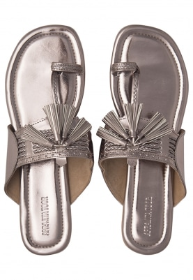 Gunmetal Color Tassel Crafted Kolhapuri Flats