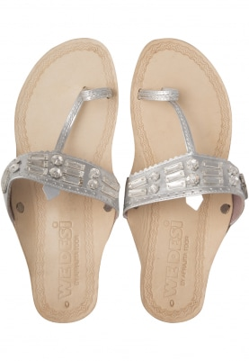 Beige Diamonds and Beads Embellished Almas Sandals