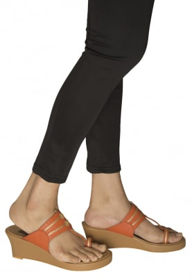 Tan, Orange and Gold Dori Work Kolhapuri Wedges