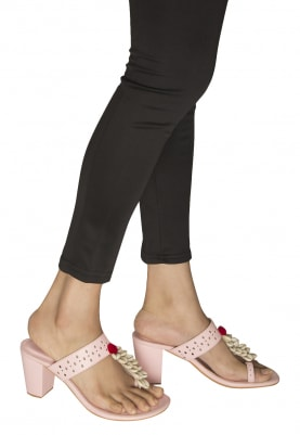 Pink and White Shells Crafted Sadaf Kolhapuri Wedges