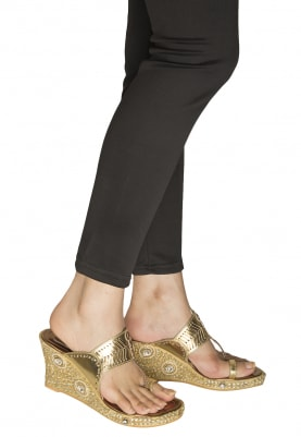Copper Kundane-Heera Embroidered Kolhapuri Wedges