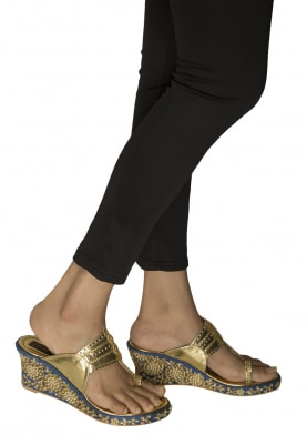 Gold Kundan-E-Bahar Hand Embroidered Kolhapuri Wedges