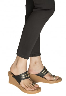 Black, Blue and Gold Dori Work Kolhapuri Wedges