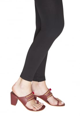 Maroon Kaitoon Kolhapuri Wedges with Red Pompom and Golden Threadwork