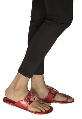 Red Tassels Crafted Kolhapuri Flats