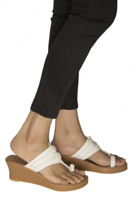 Tan and White Dori Work Avani Kolhapuri Wedges