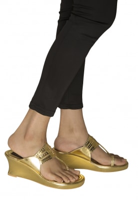 Golden Dori Work Basic Kolhapuri Wedges