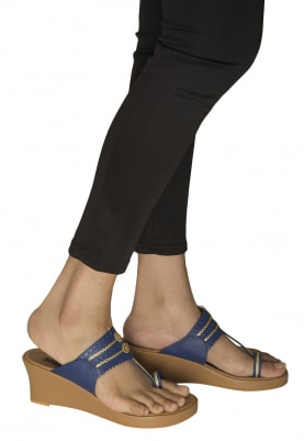 Tan, Blue and Gold Dori Work Kolhapuri Wedges