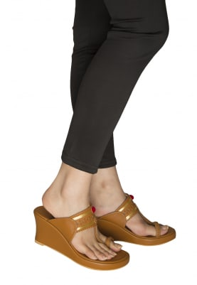 Tan Kaitoon Kolhapuri Wedges with Red Pompom and Golden Threadwork