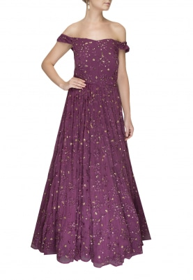 Mauve Embroidered Off-Shoulder Gown