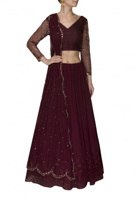 Dark Brown Embellished Sleeve Blouse with Marsala Flare Skirt and Dupatta