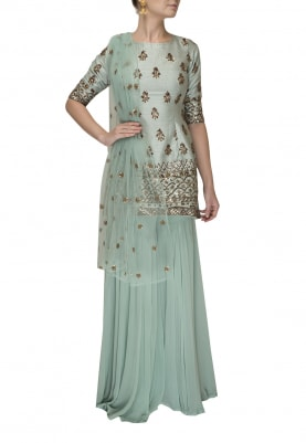 Mineral Blue Embroidered Short Kurta, Garara and Dupatta