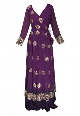 Violet Ombre Dyed Embroidered Angarkha Kurta, Kalidaar Skirt and Dupatta