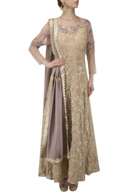 Gold Floral Embroidered Anarkali Set