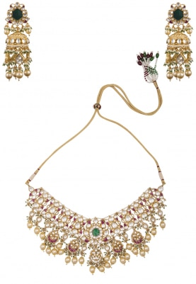 Gold Plated Green and Pink Choker Necklace Set