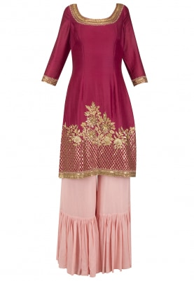 Magenta Embroidered Kurta with Pink Sharara Set